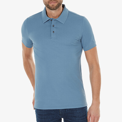 Marbella Slim Fit Poloshirt, Jeans Blau