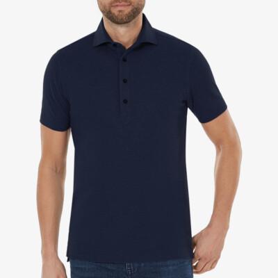 Lagos Poloshirt, Dunkelblau meliert