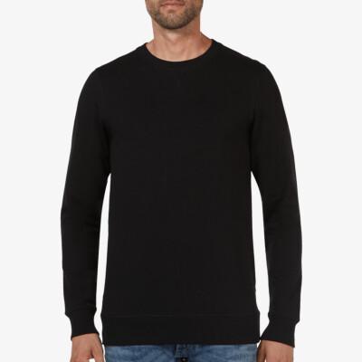 Lange regular fit Girav Princeton Light Sweatshirt in Schwarz mit Rundhalsausschnitt für Männer