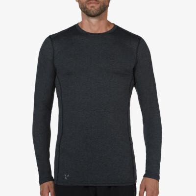 Extra langes schwarz meliertes Thermoshirt für Herren. Girav St. Anton, Funktionsunterwäsche, Nanotechnologie, Rundhals-Ausschnitt, Slim Fit