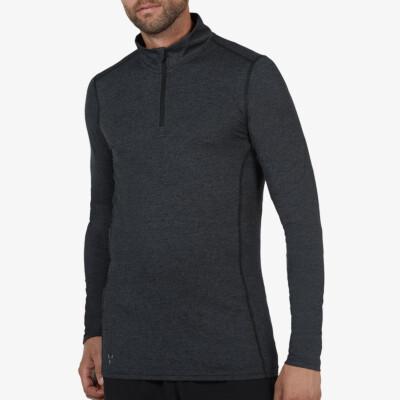 Serfaus Thermoshirt mit Reißverschluss, Schwarz Meliert