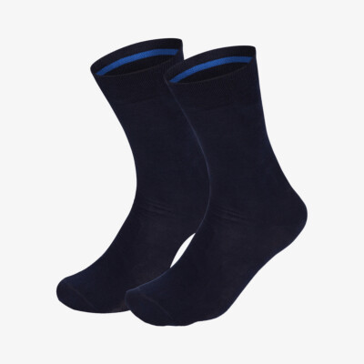 Navy long seamless Girav Oxford comfortable socks for men