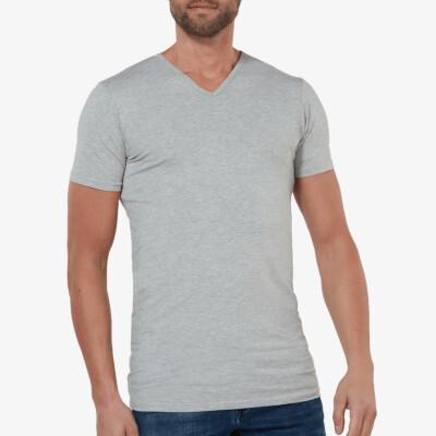 Grijs gemêleerd lang slim fit T-shirt 2-pack met diepe v-hals voor mannen