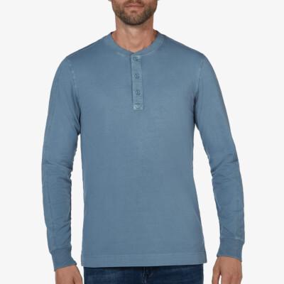 Blackpool Henley Sweater, Jeans Blau
