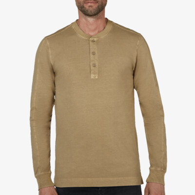Blackpool Henley Sweater, Olive Grün