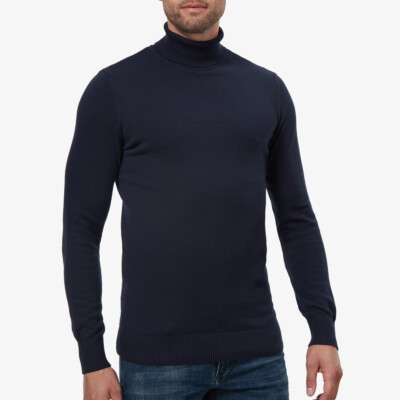 Navy round neck pullover Girav Calgary for tall men, Regular Fit, made from 90% cotton / 10% cashmere