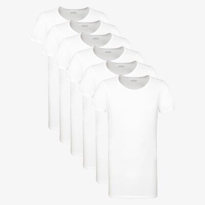 Weiss Länges Herren T-Shirt 6-Pack Jakarta Medium Rundhalsausschnitt Slim Fit Girav