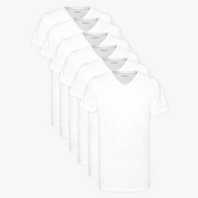 Long T-shirt White V-Neck Regular Fit 100% Cotton Melbourne 6-Pack for Men by Girav