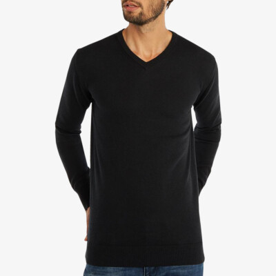 Extralanger schwarzer Strickpullover für Herren aus Merinowolle mit V-Ausschnitt im Regular Fit Schnitt, Modell Montreal von Girav für grosse Männer
