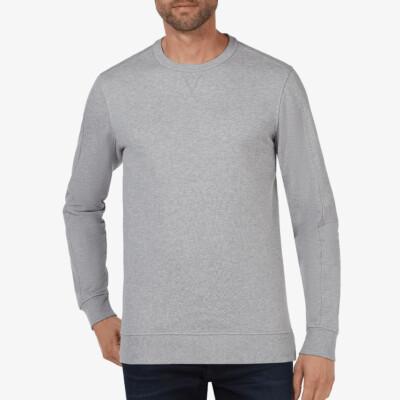 Lange regular fit Girav Cambridge Sweatshirt in grau mit Rundhalsausschnitt für Männer
