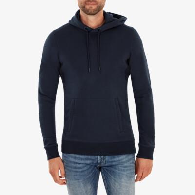 Harvard von Girav, navy blaues extralanger Regular Fit Hoodie für Männer