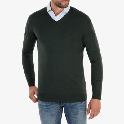 Kingston v-neck Pullover, Dunkelgrün Melange