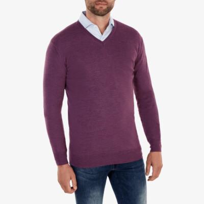 Kingston v-neck Pullover, Purple melange