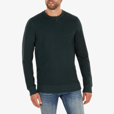 Lange regular fit Girav Princeton Light Sweatshirt in Schattengrün mit Rundhalsausschnitt für Männer