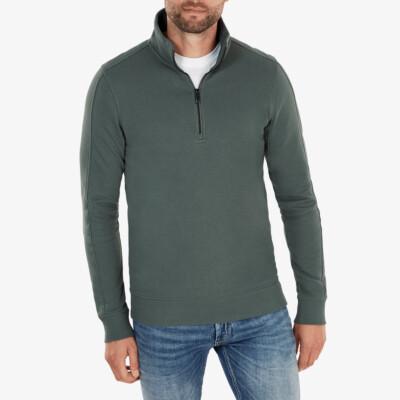 Yale Sweatshirt mit Reißverschluss, Metallgrün